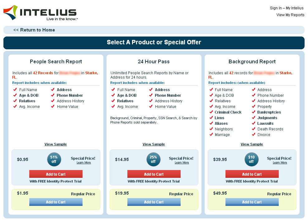 Intelius Prices and Packages