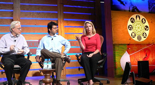 Neuer Yahoo-CEO Marissa Mayer mit Ray Ozzie (Microsoft) und Pierre Omidyar (eBay)